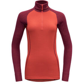 Devold Duo Active Zip Neck Fietsshirt Lange Mouwen Dames, beetroot